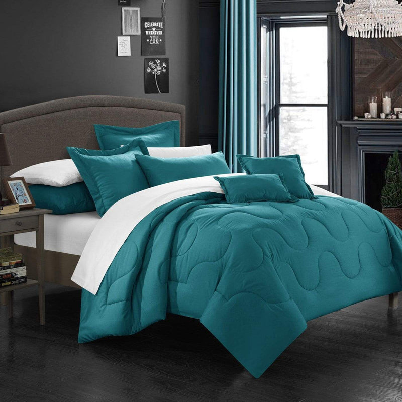 Chic Home Donna 7 Piece Comforter Set Basics Solid Color Bedding-Teal