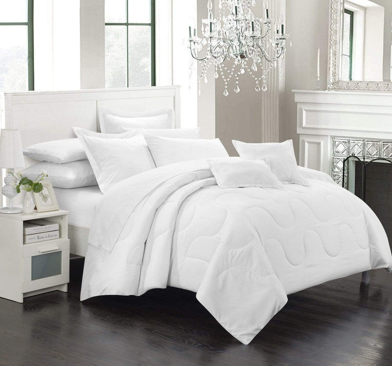 Chic Home Donna 7 Piece Comforter Set Basics Solid Color Bedding-White