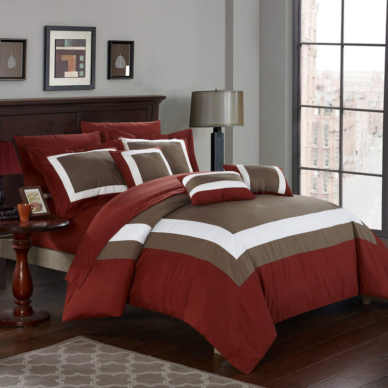 Chic Home Duke 10 Piece Hotel Collection Comforter Set Pieced Color Block Bed in a Bag-
