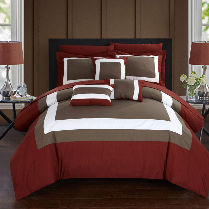 Chic Home Duke 10 Piece Hotel Collection Comforter Set Pieced Color Block Bed in a Bag-Brick