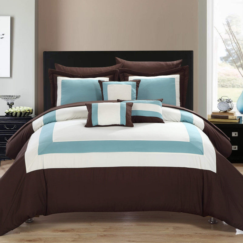 Chic Home Duke 10 Piece Hotel Collection Comforter Set Pieced Color Block Bed in a Bag-Brown