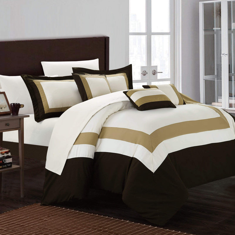 Chic Home Duke 10 Piece Hotel Collection Comforter Set Pieced Color Block Bed in a Bag-Gold