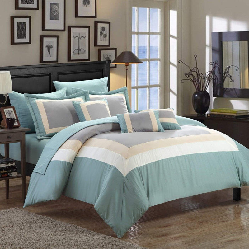 Chic Home Duke 10 Piece Hotel Collection Comforter Set Pieced Color Block Bed in a Bag-Green