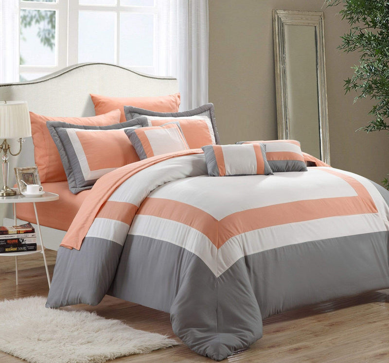 Chic Home Duke 10 Piece Hotel Collection Comforter Set Pieced Color Block Bed in a Bag-Peach