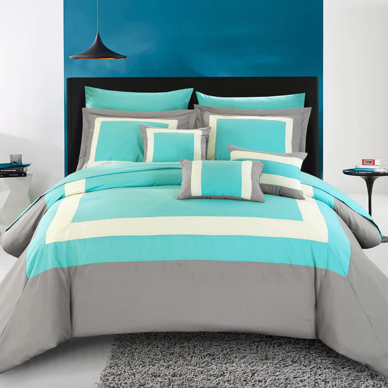 Chic Home Duke 10 Piece Hotel Collection Comforter Set Pieced Color Block Bed in a Bag-Turquoise
