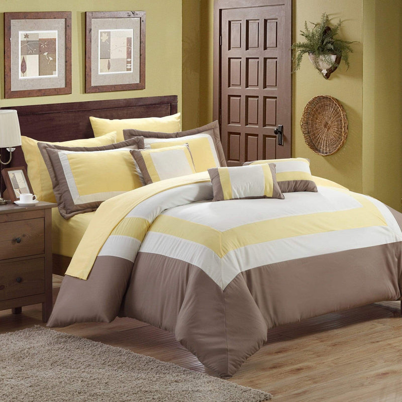 Chic Home Duke 10 Piece Hotel Collection Comforter Set Pieced Color Block Bed in a Bag-Yellow