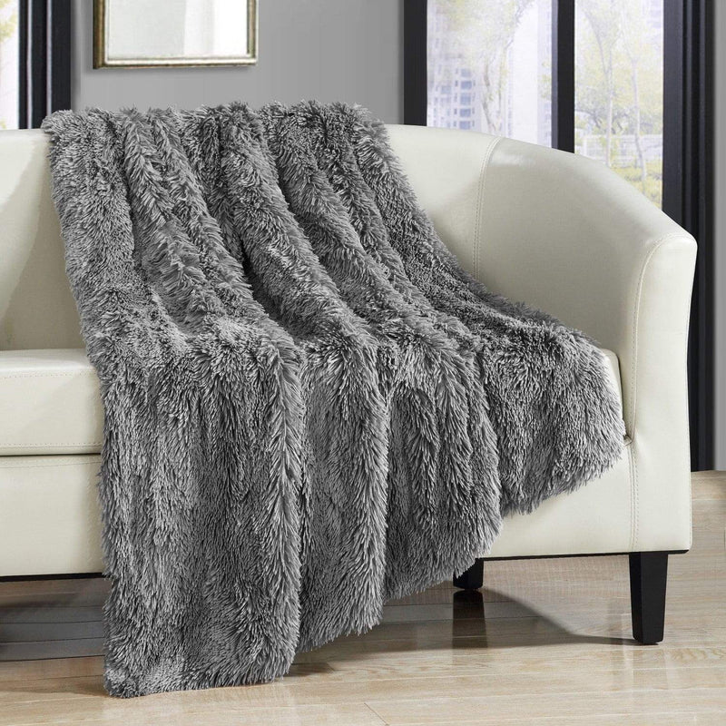 Chic Home Elana Ultra Plush Shaggy Faux Fur Micromink Throw Blanket Silver-Silver-TB3901-CHB