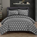 Chic Home Elizabeth 9 Piece Duvet Cover Set Reversible Geometric Diamond Pattern Bed in a Bag-Black