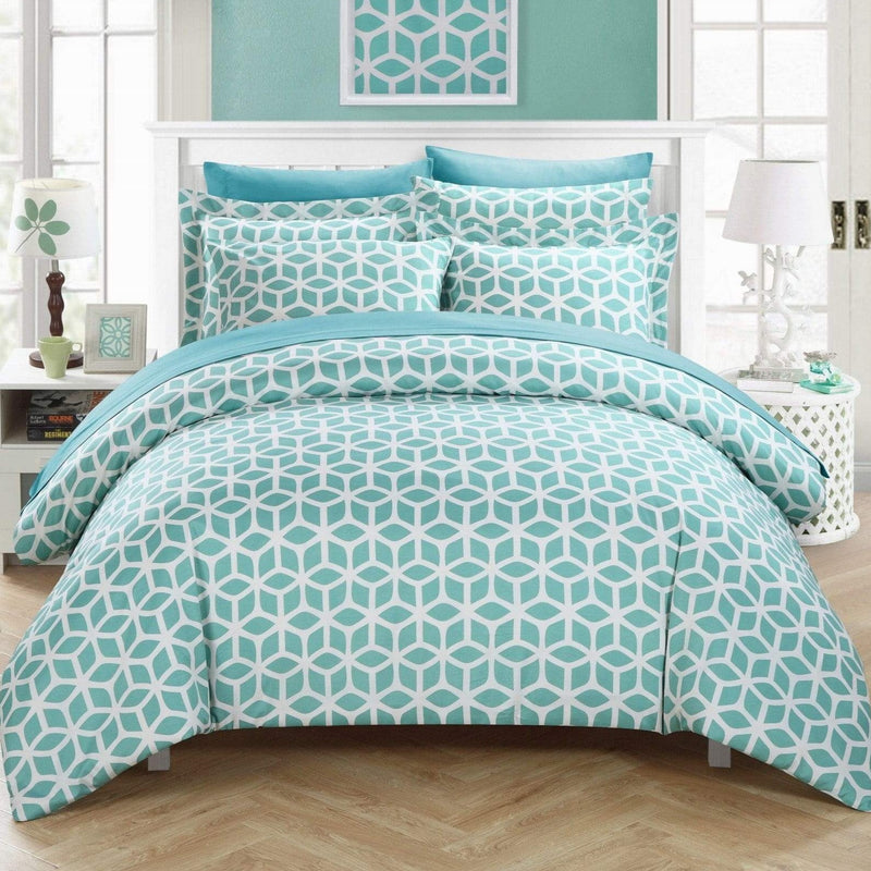 Chic Home Elizabeth 9 Piece Duvet Cover Set Reversible Geometric Diamond Pattern Bed in a Bag-Green