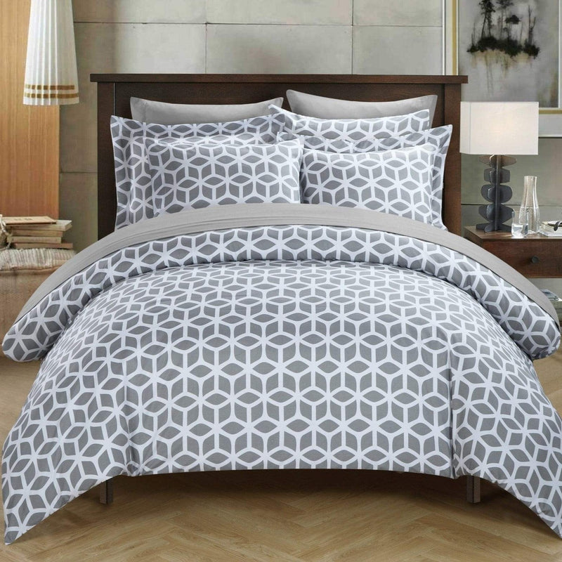 Chic Home Elizabeth 9 Piece Duvet Cover Set Reversible Geometric Diamond Pattern Bed in a Bag-Grey