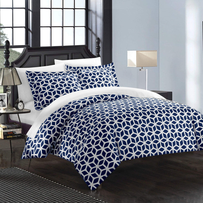 Chic Home Elizabeth 9 Piece Duvet Cover Set Reversible Geometric Diamond Pattern Bed in a Bag-Navy