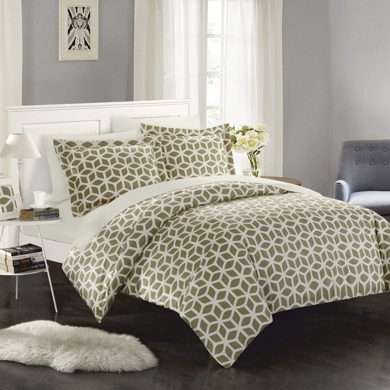 Chic Home Elizabeth 9 Piece Duvet Cover Set Reversible Geometric Diamond Pattern Bed in a Bag-Taupe
