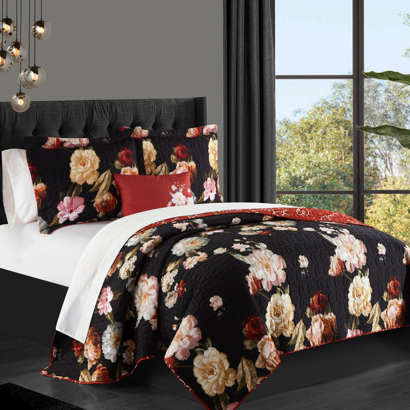 Chic Home Euphemia 8 Piece Reversible Quilt Set Floral Bed In A Bag Sheet Set Pillow Shams Included
