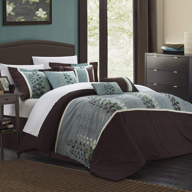 Chic Home Evan 8 Piece Floral Embroidered Comforter Set Color Block Bedding-