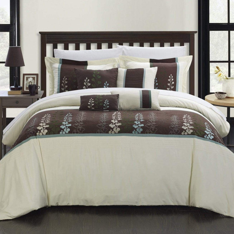 Chic Home Evan 8 Piece Floral Embroidered Comforter Set Color Block Bedding-Beige