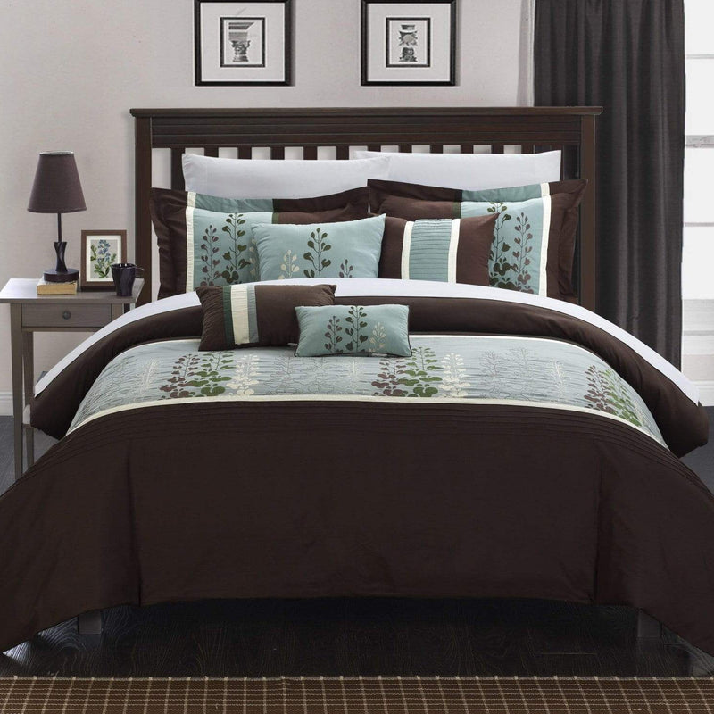 Chic Home Evan 8 Piece Floral Embroidered Comforter Set Color Block Bedding-Brown