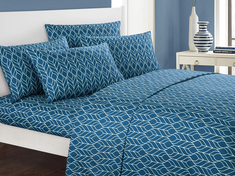 Chic Home Fallen Leaf 6 Piece Sheet Set with Pillowcases Two-Tone Geometric Leaf Pattern Print Teal-BSS12050-CHB