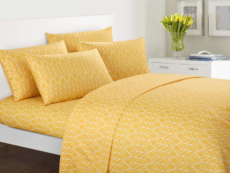 Chic Home Fallen Leaf 6 Piece Sheet Set with Pillowcases Two-Tone Geometric Leaf Pattern Print Yellow-BSS12043-CHB