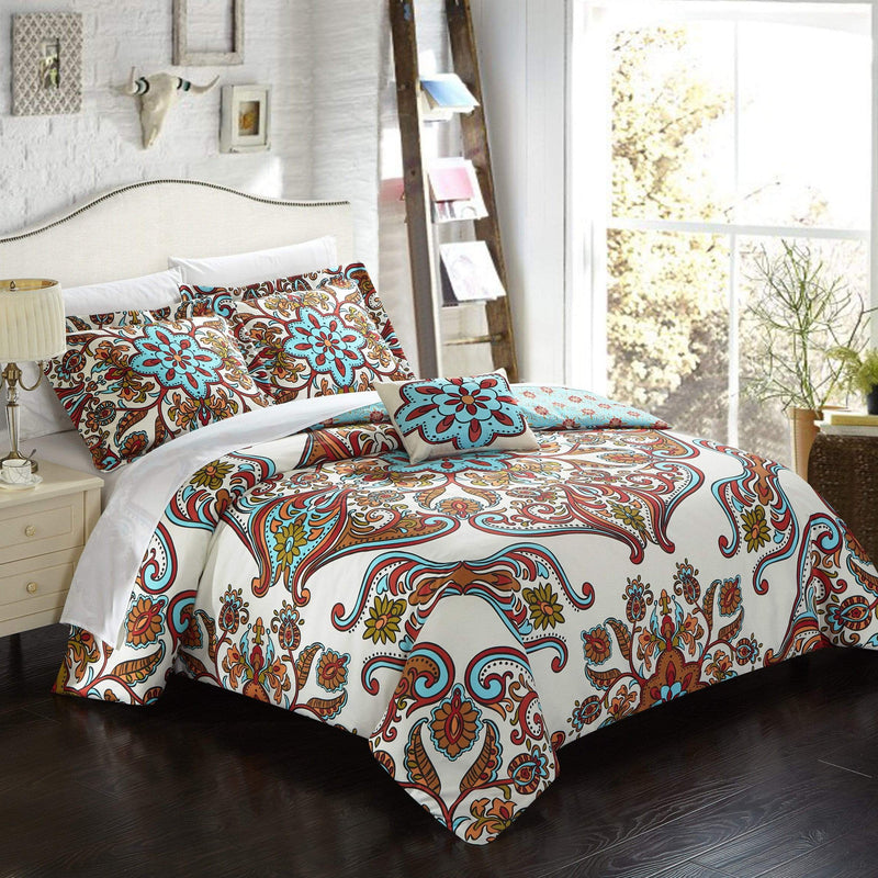 Chic Home Feinch 4 Piece Duvet Cover Set Reversible Bohemian Paisley Geometric Pattern Bedding Blue