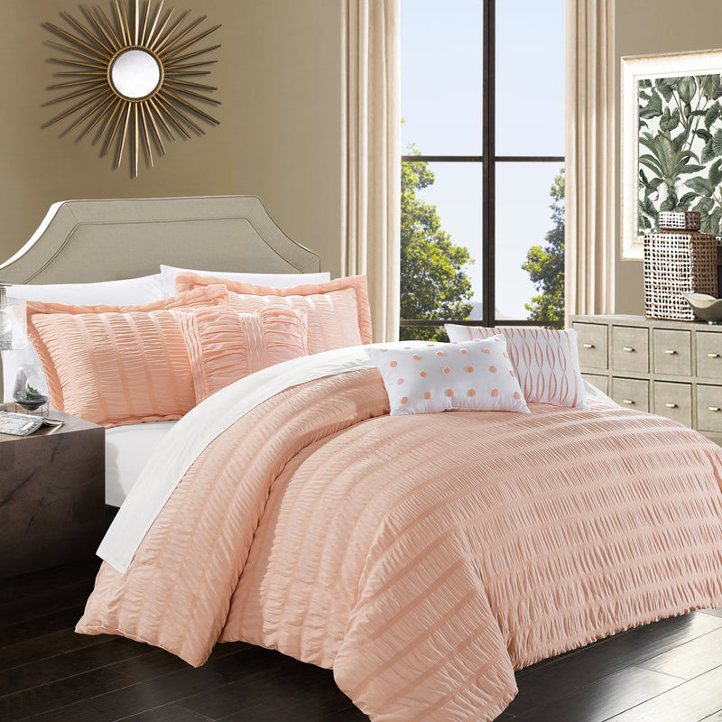 Chic Home Hadassah 10 Piece Ruffled Comforter Set Striped Ruched Bed in a Bag Bedding-Coral