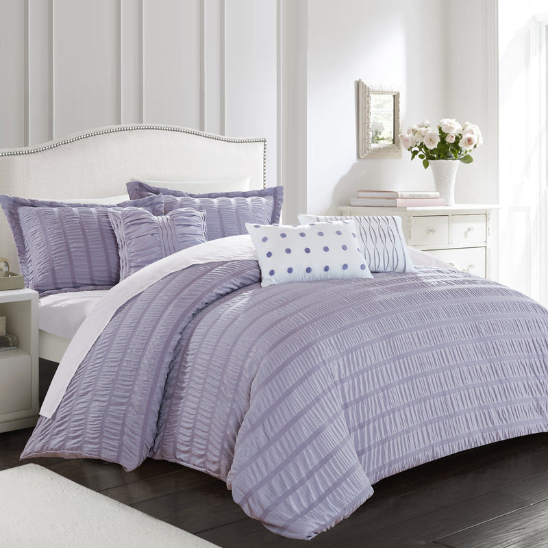 Chic Home Hadassah 10 Piece Ruffled Comforter Set Striped Ruched Bed in a Bag Bedding-Lavender