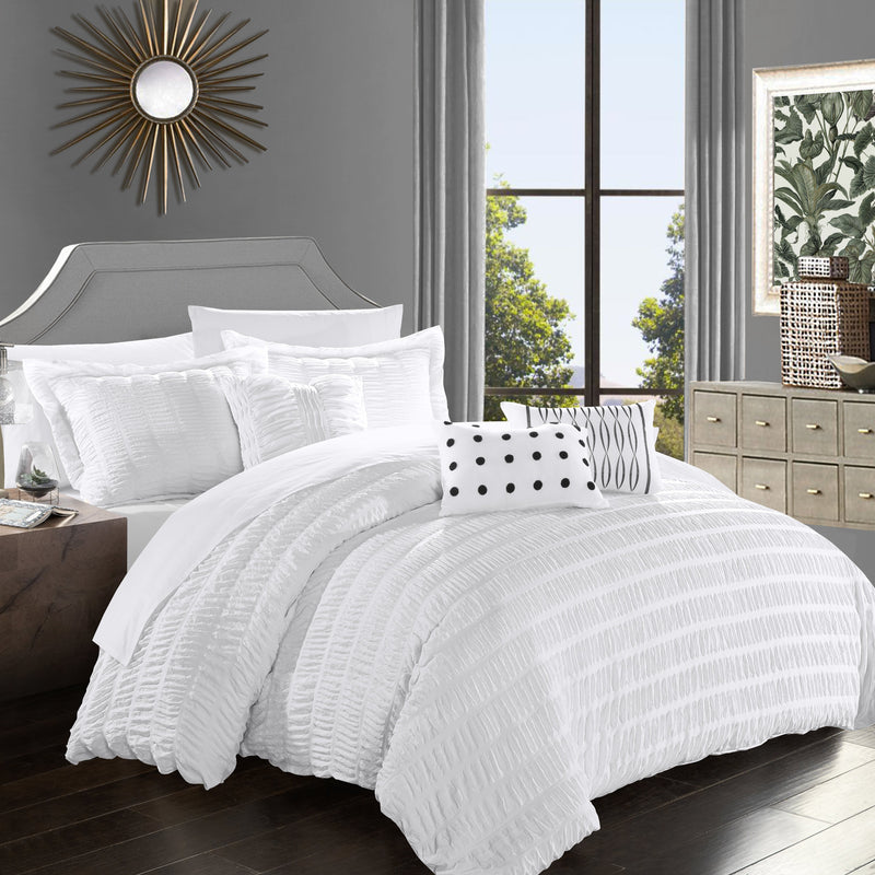 Chic Home Hadassah 10 Piece Ruffled Comforter Set Striped Ruched Bed in a Bag Bedding-White