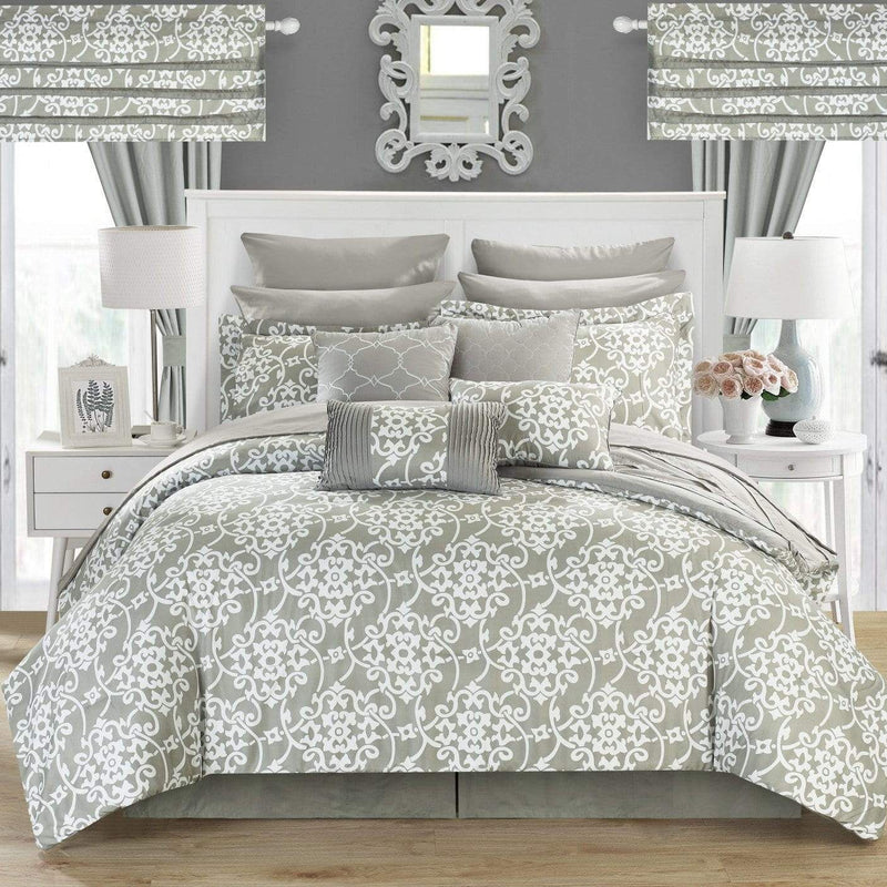 Chic Home Hailee 24 Piece Reversible Comforter Set Bed in a Bag Pleated Ruffled Jacobean Print Design-