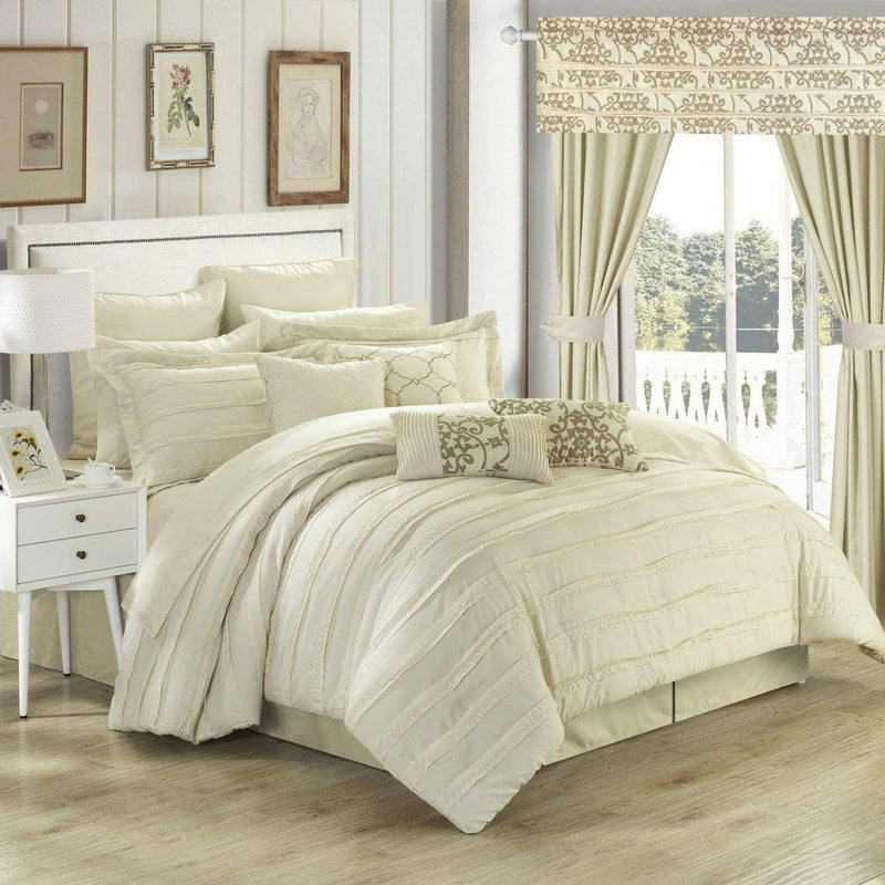 Chic Home Hailee 24 Piece Reversible Comforter Set Bed in a Bag Pleated Ruffled Jacobean Print Design-Beige