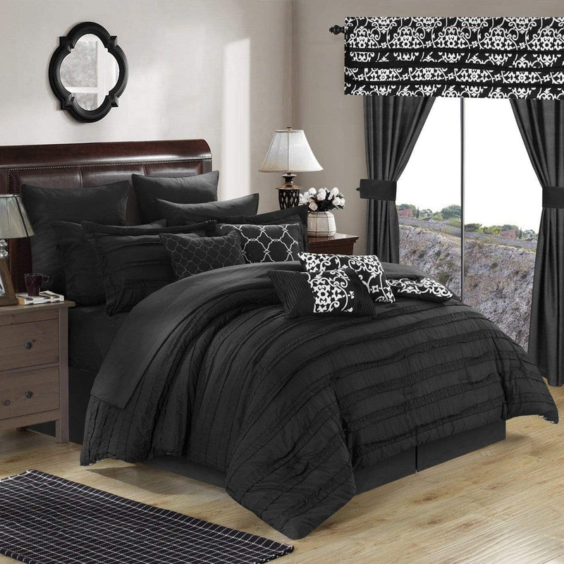 Chic Home Hailee 24 Piece Reversible Comforter Set Bed in a Bag Pleated Ruffled Jacobean Print Design-Black