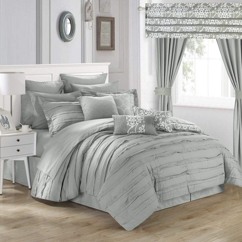 Chic Home Hailee 24 Piece Reversible Comforter Set Bed in a Bag Pleated Ruffled Jacobean Print Design-Silver