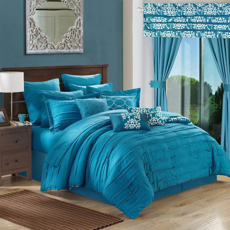 Chic Home Hailee 24 Piece Reversible Comforter Set Bed in a Bag Pleated Ruffled Jacobean Print Design-Teal