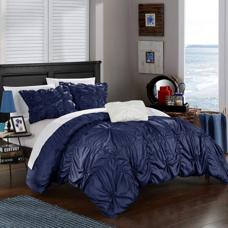 Chic Home Hamilton 8 Piece Duvet Cover Set Ruffled Floral Pinch Pleat Bed in a Bag-