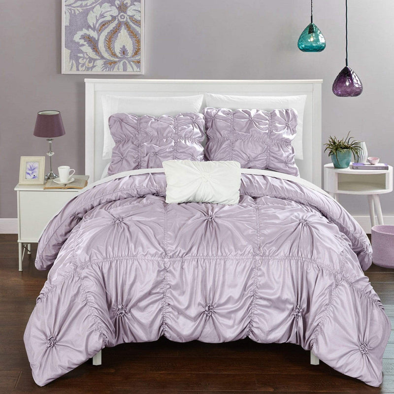 Chic Home Hamilton 8 Piece Duvet Cover Set Ruffled Floral Pinch Pleat Bed in a Bag-Lavender