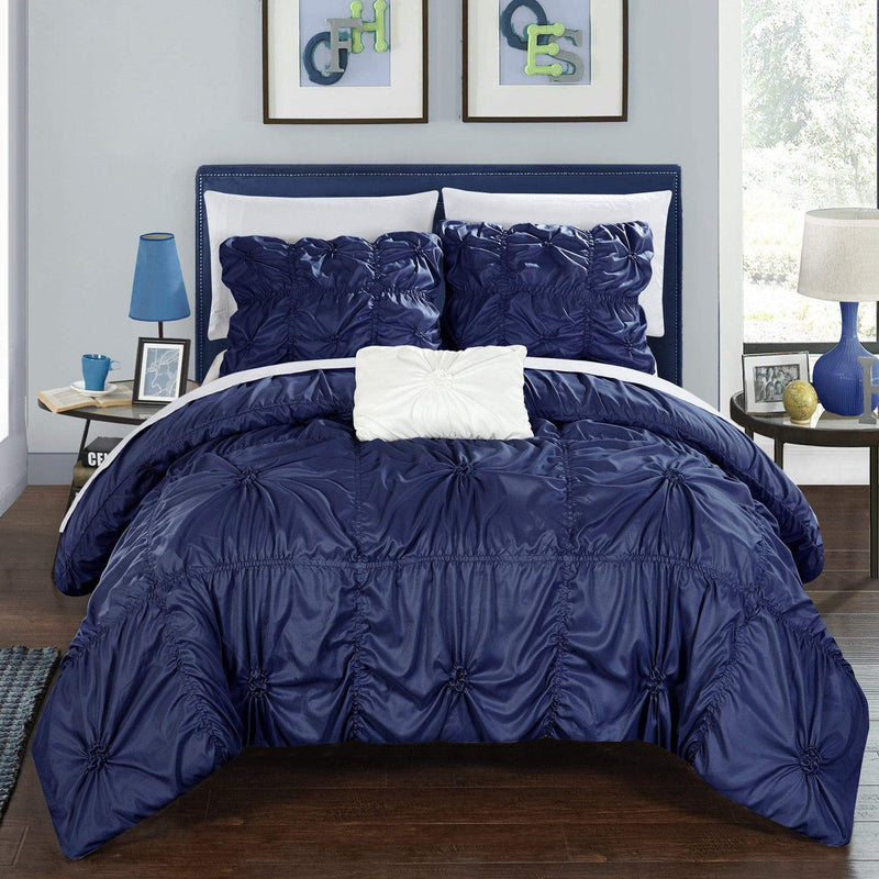 Chic Home Hamilton 8 Piece Duvet Cover Set Ruffled Floral Pinch Pleat Bed in a Bag-Navy