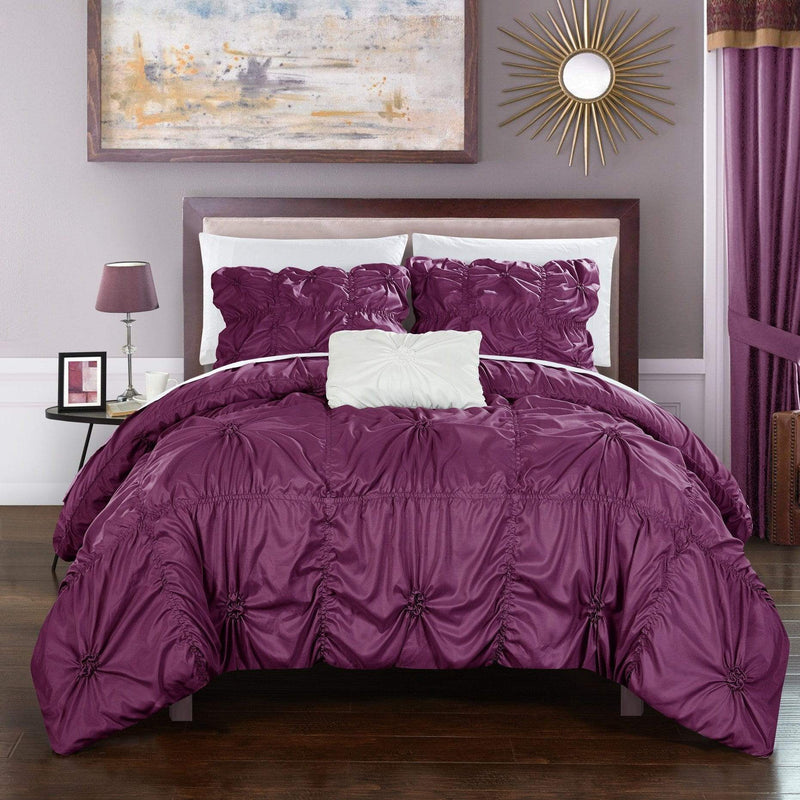Chic Home Hamilton 8 Piece Duvet Cover Set Ruffled Floral Pinch Pleat Bed in a Bag-Purple