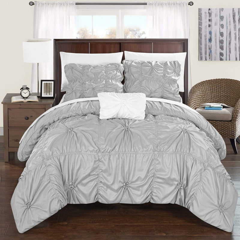 Chic Home Hamilton 8 Piece Duvet Cover Set Ruffled Floral Pinch Pleat Bed in a Bag-Silver