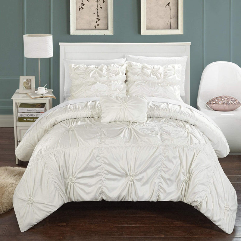 Chic Home Hamilton 8 Piece Duvet Cover Set Ruffled Floral Pinch Pleat Bed in a Bag-White