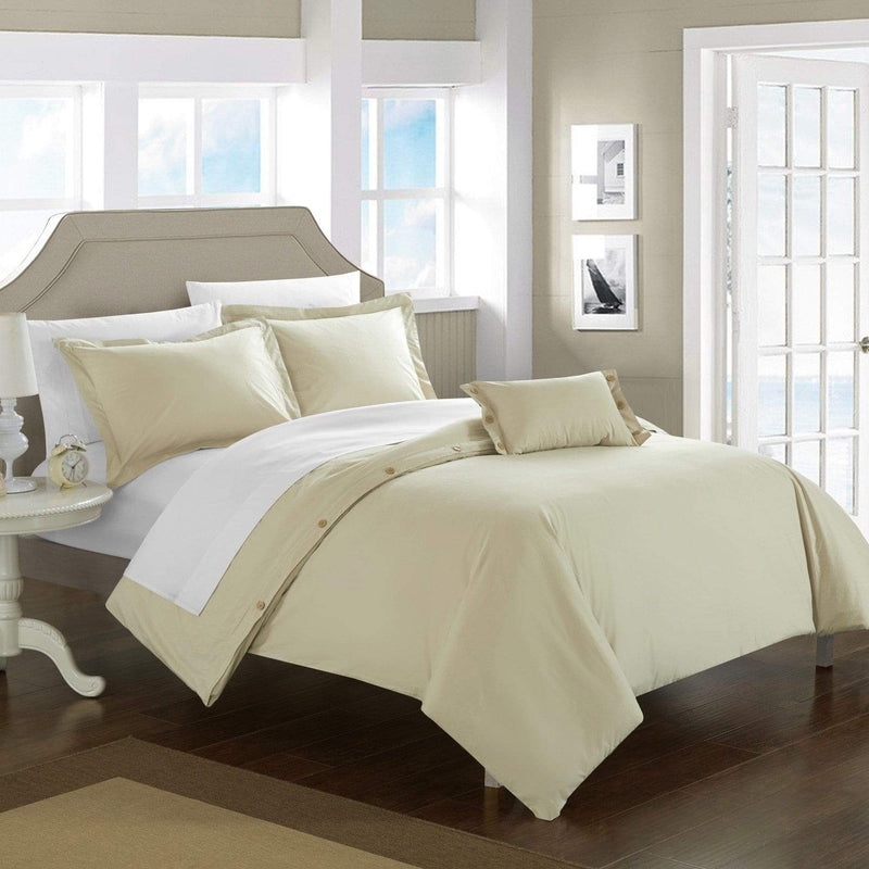 Chic Home Hartford 4 Piece Duvet Cover Set 100% Cotton Twill Weave Bedding-