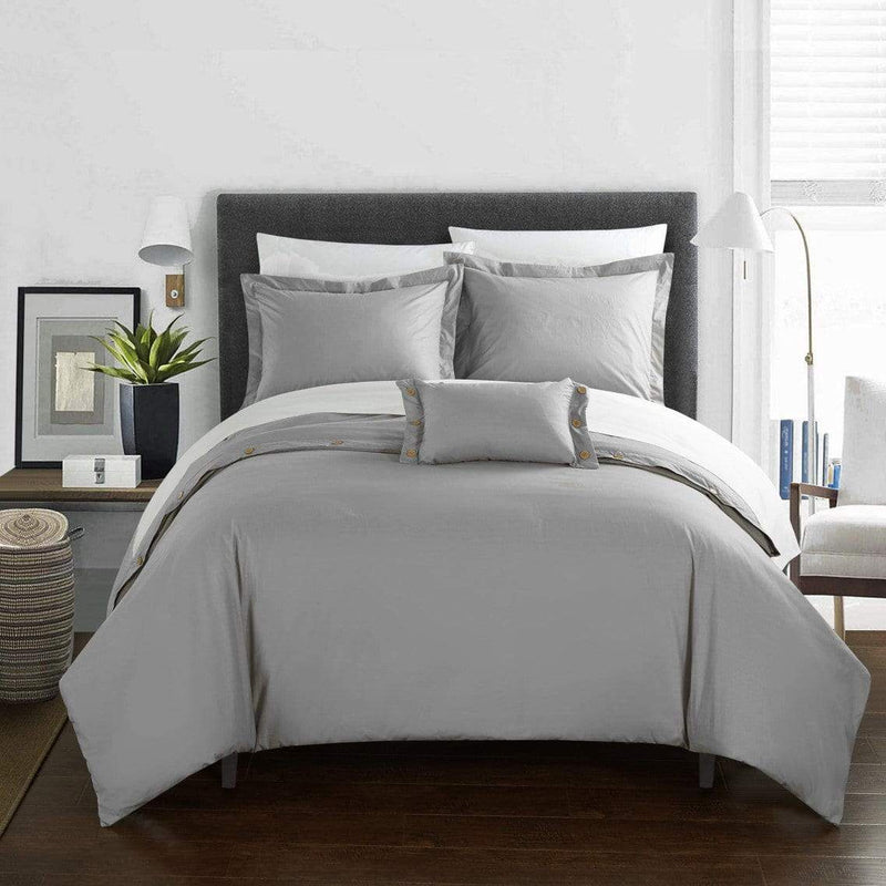 Chic Home Hartford 4 Piece Duvet Cover Set 100% Cotton Twill Weave Bedding-Grey