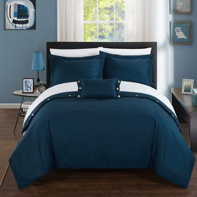 Chic Home Hartford 4 Piece Duvet Cover Set 100% Cotton Twill Weave Bedding-Navy