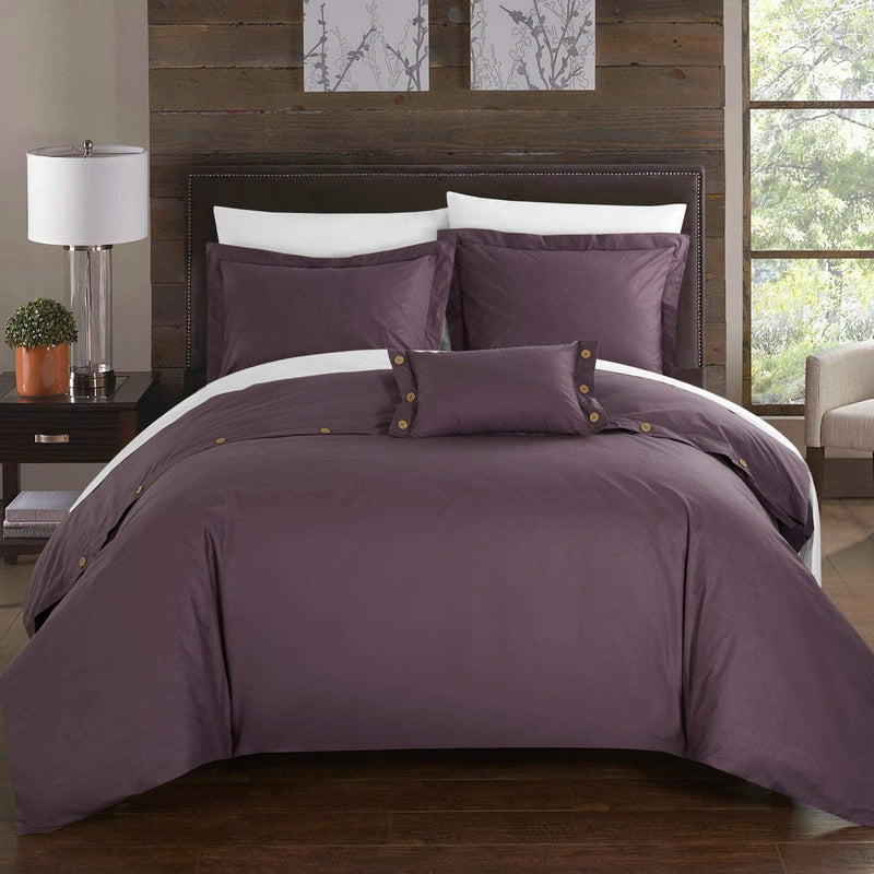 Chic Home Hartford 4 Piece Duvet Cover Set 100% Cotton Twill Weave Bedding-Purple