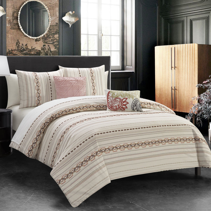 Chic Home Hewitt 5 Piece Cotton Comforter Set Farmhouse Theme Striped Pattern Design Bedding