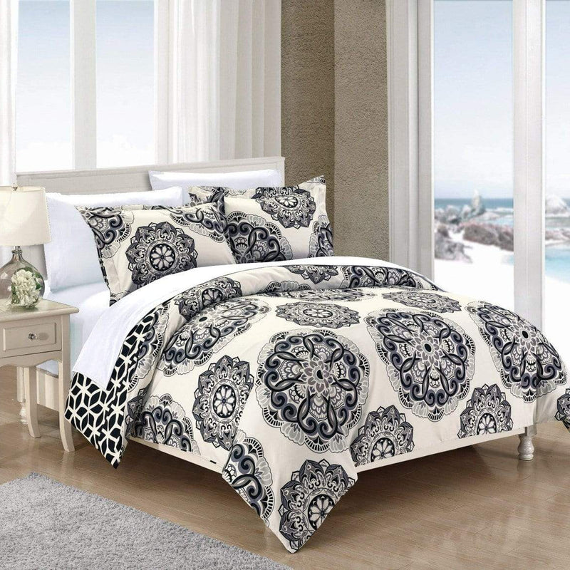 Chic Home Ibiza 3 Piece Duvet Cover Set Reversible Boho Medallion Geometric Design Bedding-Black
