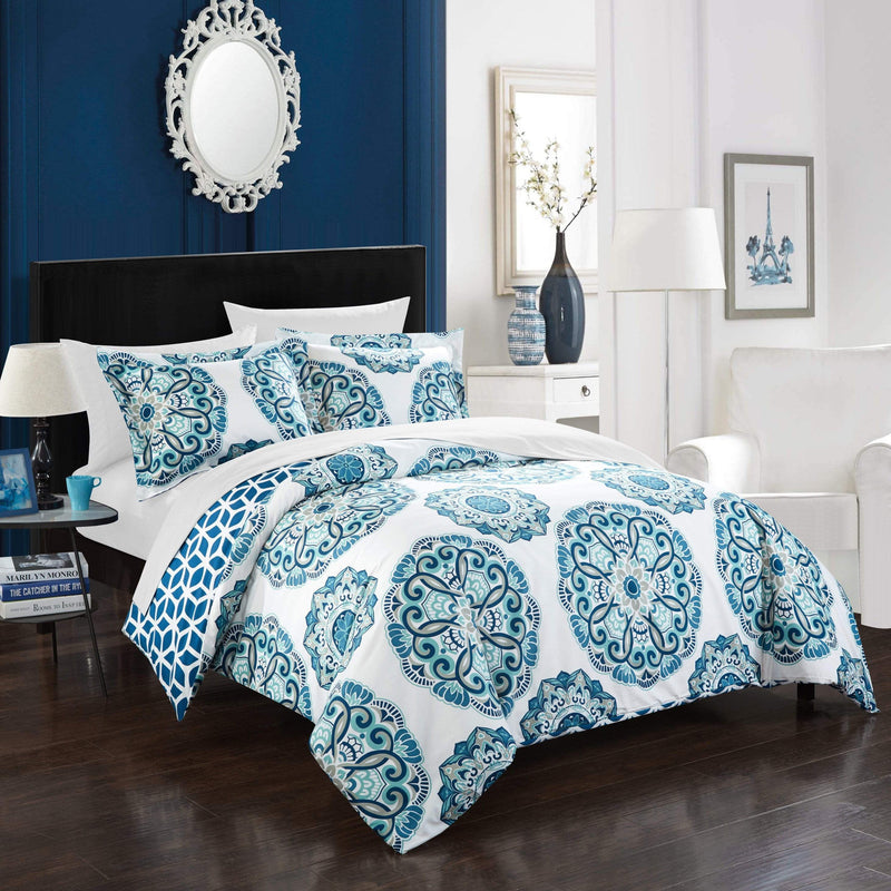 Chic Home Ibiza 3 Piece Duvet Cover Set Reversible Boho Medallion Geometric Design Bedding-Blue