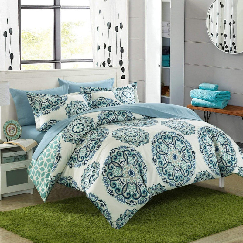 Chic Home Ibiza 3 Piece Duvet Cover Set Reversible Boho Medallion Geometric Design Bedding-Green