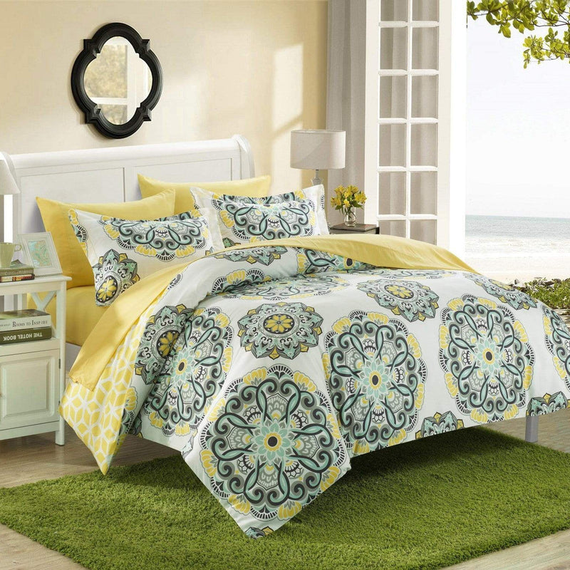 Chic Home Ibiza 3 Piece Duvet Cover Set Reversible Boho Medallion Geometric Design Bedding-Yellow