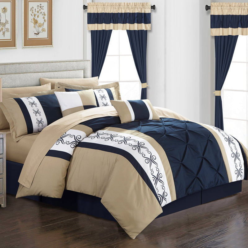 Chic Home Icaria 20 Piece Color Block Comforter Set Pinch Pleat Pintuck Design Bed in a Bag-