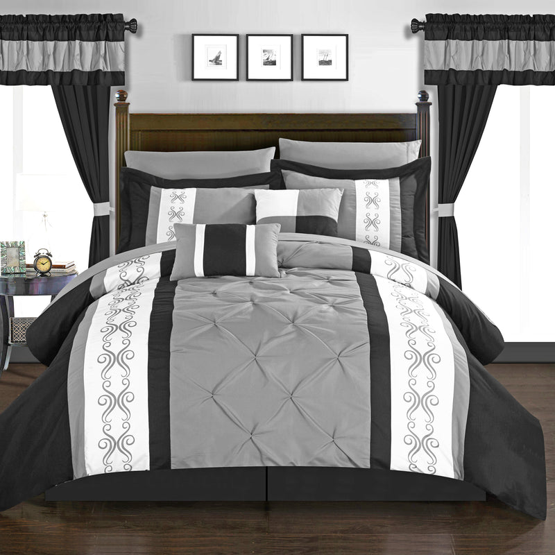 Chic Home Icaria 20 Piece Color Block Comforter Set Pinch Pleat Pintuck Design Bed in a Bag-Black