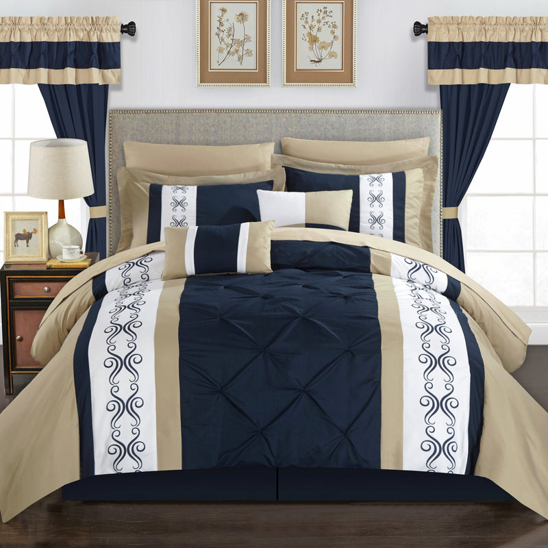 Chic Home Icaria 20 Piece Color Block Comforter Set Pinch Pleat Pintuck Design Bed in a Bag-Navy