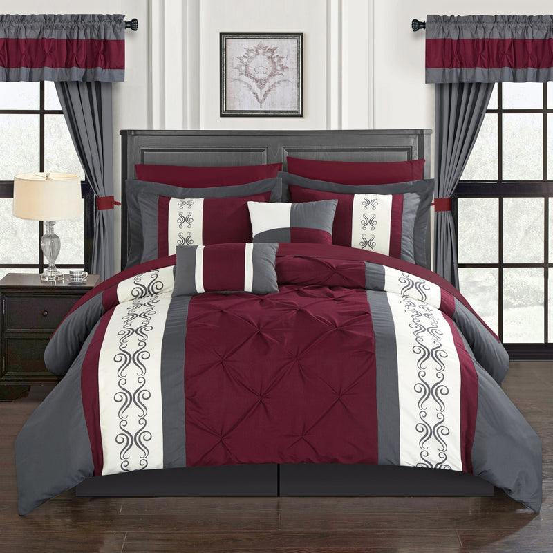 Chic Home Icaria 20 Piece Color Block Comforter Set Pinch Pleat Pintuck Design Bed in a Bag-Red